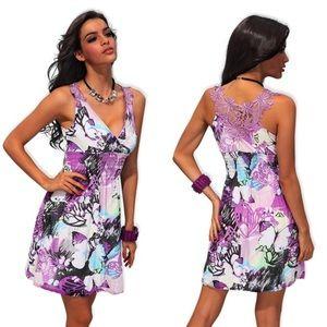 Dresses & Skirts - Beautiful Purple Print Summer Dress with Lace Back